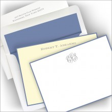Foil Stamped Periwinkle Hand Bordered Correspondence Cards