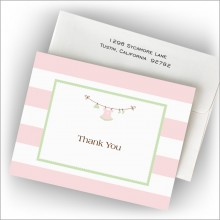 Girl Clothes Line Fold Note - Thank You