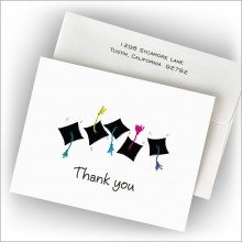 Grad Hats and Hands Fold Notes - Thank You