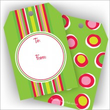 Red & Lime Stripes Jumbo Gift Tags