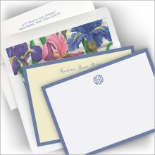 Wide Periwinkle Hand Bordered Correspondence Cards