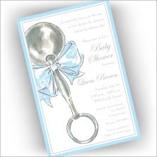 Classic Rattle Blue Invitations
