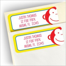 Happy Monkey Return Address Label