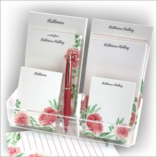 Watercolor Floral Pad Set & Acrylic Holder