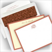 Wide Rose Gold Foil Hand Bordered Correspondence Cards
