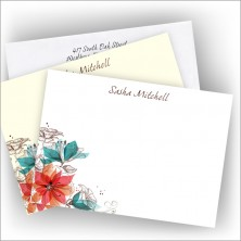 Teal Floral Correspondence Card