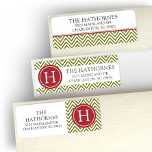 Green Initial Gift Address Label