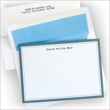 Border Charcoal & Light Blue Correspondence Cards