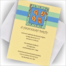 Bordered Dreidel Hanukkah Invitation