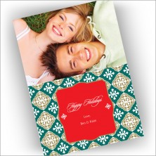 Green Jacquard Photo Cards - Vertical