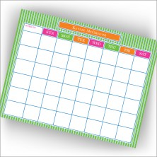 Green Pinstripes Calendar