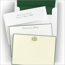 Hunter Green Hand Bordered Correspondence Cards