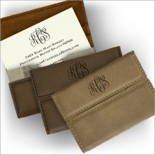 Leather Flip Business Card Holder & Thermograved Business Cards - with Monogram