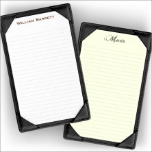 Leather Note Holder - Lined - Black