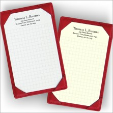 Leather Note Holder - with Address - Red