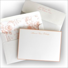 Peach Hand Bordered Correspondence Cards