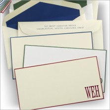 Slender Hand Bordered Correspondence Cards - with Initials