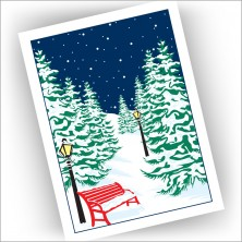 Snowy Red Bench Holiday Cards