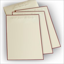 Wine Hand Bordered Embossed Stationery - Lettersheet