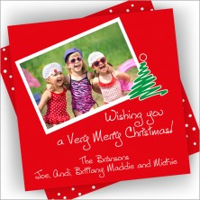 Wishing You Square Holiday Photo Card