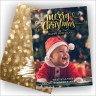 Merry Christmas Greetings Photocard Gold