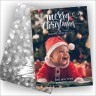 Merry Christmas Greetings Photocard Silver