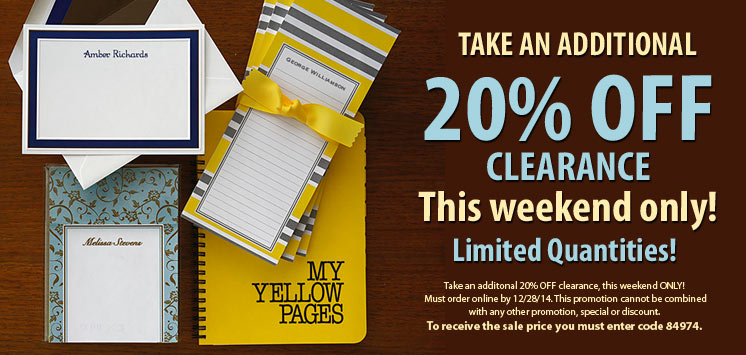 Additional discount on Clearance Stationery