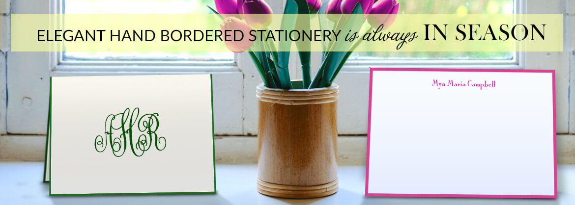 Spring Hand Bordered Stationery